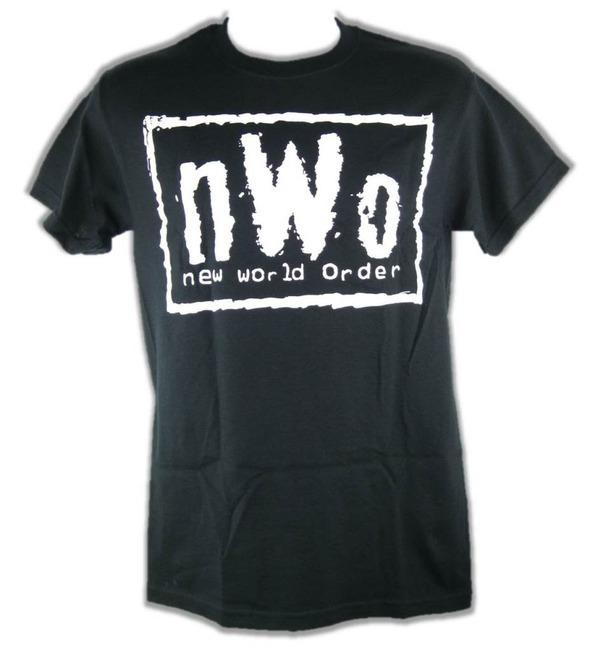 Nwo white logo new world order mens black t shirt for Order shirts with logo
