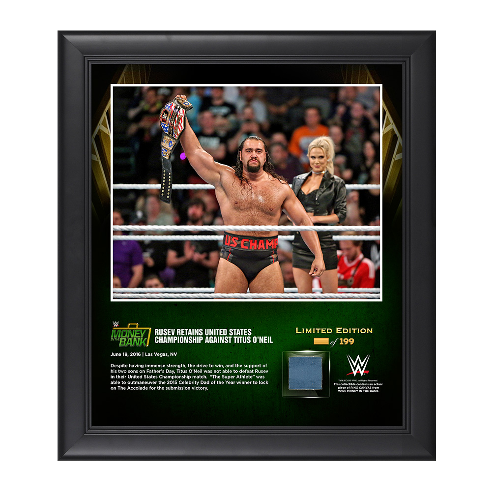 Rusev Money In The Bank 2016 15 x 17 Framed Photo w/ Ring Canvas