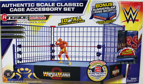 "WWE Classic Blue Steel Cage Playset"" w/ WrestleMania 2 & SummerSlam Ring Skirts"