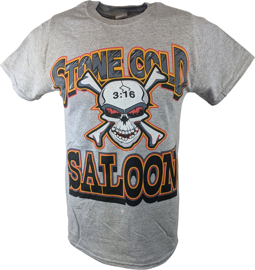 WWE STONE COLD STEVE AUSTIN SALOON MENS GRAY T-SHIRT