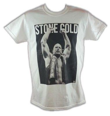 STONE COLD STEVE AUSTIN ARMS RAISED WWE MENS WHITE T-SHIRT