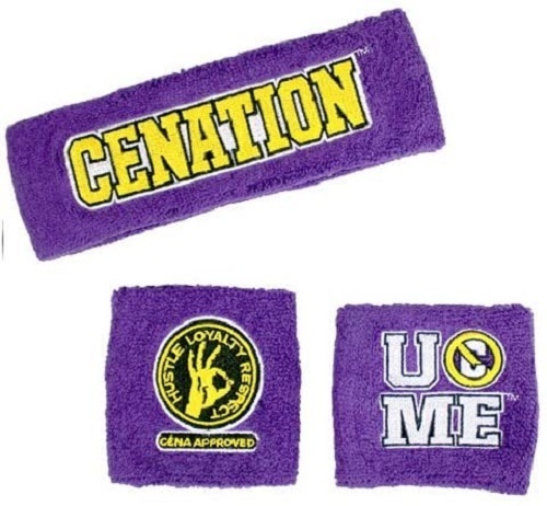 WWE JOHN CENA PURPLE NEVER GIVE UP SWEISSBAND SET